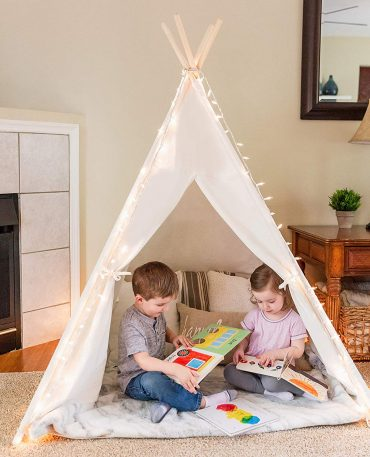 Kids White Cotton Teepee Play Tent (Coloured lace or bunting can be added for Personalization)